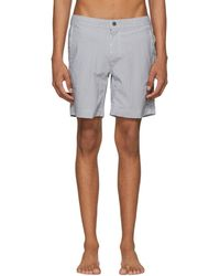 Onia - Grey And White Striped Calder Swim Shorts - Lyst