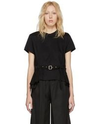Noir Kei Ninomiya - Black Panelled Belt T-shirt - Lyst
