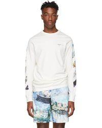 Off-White c/o Virgil Abloh - T-shirt a manches longues blanc casse Diag Arrows - Lyst