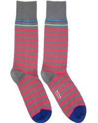 Paul Smith - Pink And Grey Two Stripe Socks - Lyst