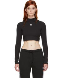 adidas Originals - Black Crop Top Turtleneck - Lyst