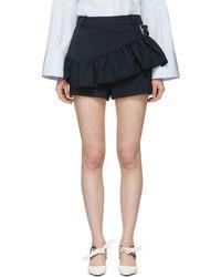 3.1 Phillip Lim - Black Ruffle Apron Shorts - Lyst