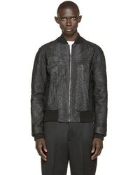 A. Sauvage - Black Faux Fish Skin Bomber - Lyst