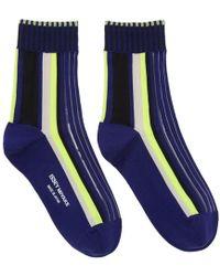 Issey Miyake - Navy Lined Striped Socks - Lyst