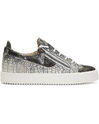 Giuseppe Zanotti - Grey And White Croc May London Sneakers - Lyst