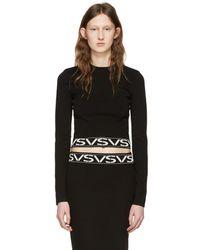 Versus - Black Cropped Logo Pullover - Lyst