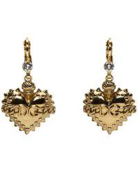Dolce & Gabbana - Gold Heart Drop Earrings - Lyst