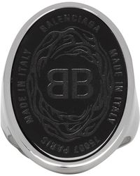 Balenciaga - Black And Silver Oval Chevaliere Ring - Lyst