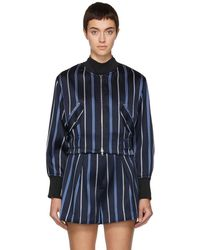 3.1 Phillip Lim - Navy Striped Jacquard Bomber Jacket - Lyst