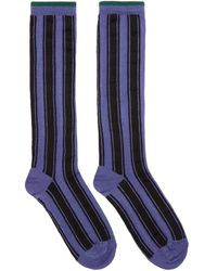 Haider Ackermann - Purple And Black Beryl Stripe Socks - Lyst