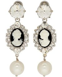 Miu Miu - Black And Silver Cameo Clip-on Earrings - Lyst
