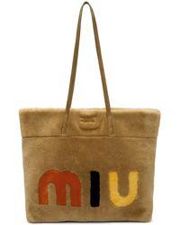 Miu Miu - Tan Shearling Logo Tote - Lyst