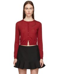 RED Valentino - Red Cashmere And Silk Cropped Cardigan - Lyst