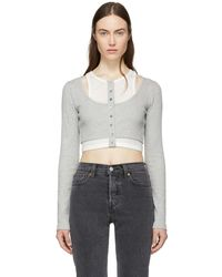 T By Alexander Wang - Grey And Off-white Layered Mixed Media Crop T-shirt - Lyst