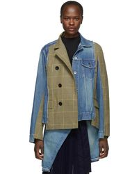 Sacai - Blue And Beige Denim Glen Check Jacket - Lyst