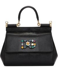 Dolce & Gabbana - Black Iguana Small Miss Sicily Bag - Lyst