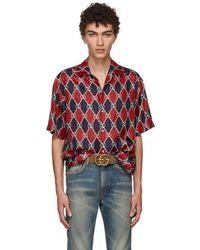 Gucci - Red And Navy Gg Logo Shirt - Lyst