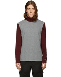 Noah - Grey Colorblock Turtleneck - Lyst
