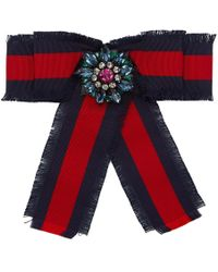 Gucci - Navy And Red Ribbon Brooch - Lyst