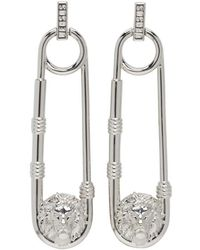 Versus - Silver Safety Pin Lion Medallion Earrings - Lyst