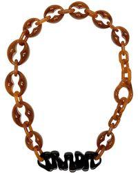 Prada - ブラウン ロゴ チャンキー ネックレス - Lyst