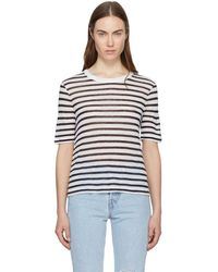 T By Alexander Wang - Ivory And Navy Striped Cropped T-shirt - Lyst