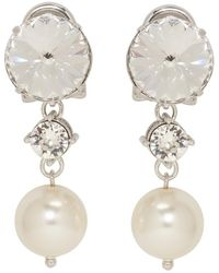 Miu Miu - Silver Large Rhinestone And Pearl Clip-on Earrings - Lyst