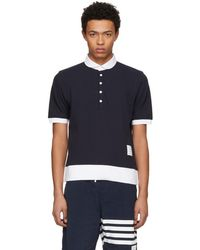 Thom Browne - Navy Classic Pique Polo - Lyst