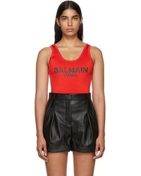 Balmain - Red Knit Logo Bodysuit - Lyst