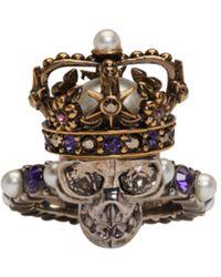 Alexander McQueen | Silver King Skull Ring | Lyst
