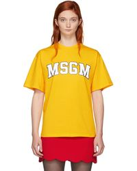MSGM - Yellow University Logo T-shirt - Lyst