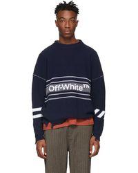 Off-White c/o Virgil Abloh - Navy Logo Sweater - Lyst