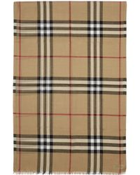 Burberry - Beige Silk Giant Check Scarf - Lyst