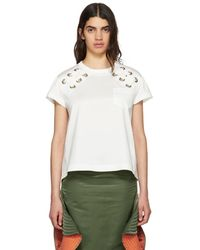 Sacai - White Lace-up T-shirt - Lyst