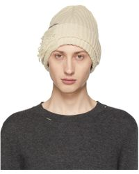 Maison Margiela - Grey Destroyed Beanie - Lyst