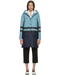 Marni - Navy And Blue Hooded Double Stripe Coat - Lyst