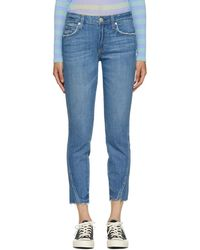 AMO - Blue Frayed Twist Jeans - Lyst