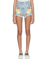 Gucci - Blue Denim Embroidered Shorts - Lyst