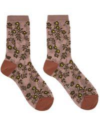 Y's Yohji Yamamoto - Pink See-through Flower Socks - Lyst