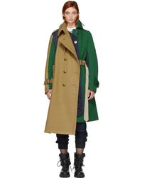 Sacai - Green And Beige Wool Combo Coat - Lyst