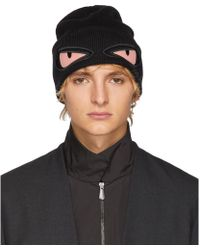 Fendi - Black And Pink Bag Bugs Beanie - Lyst