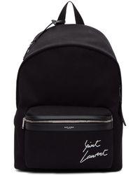 Saint Laurent - Black Embroidered Logo City Backpack - Lyst