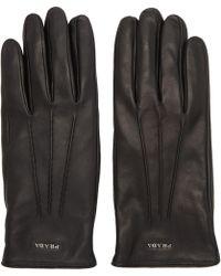 Prada - Black Leather Logo Gloves - Lyst