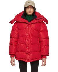 Balenciaga - Red Down Logo Jacket - Lyst
