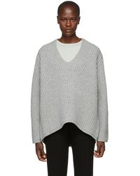 Acne Studios - Grey Wool Deborah V-neck Sweater - Lyst
