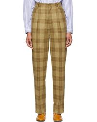 Gucci - Beige Plaid High-waisted Trousers - Lyst