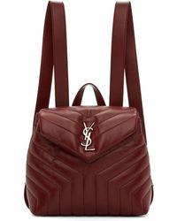 Saint Laurent - Burgundy Small Monogram Loulou Backpack - Lyst