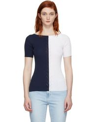 SJYP - Navy And White Knit Off-the-shoulder Jumper - Lyst