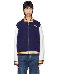 DSquared² - Navy And White Bomber Jacket - Lyst