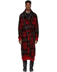 Alexander McQueen - Red Distressed Mohair Coat - Lyst